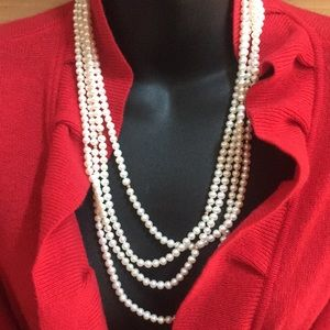 """Jewelry - Elegant 100"""" Pearls Gold Beads Necklace Strand"""